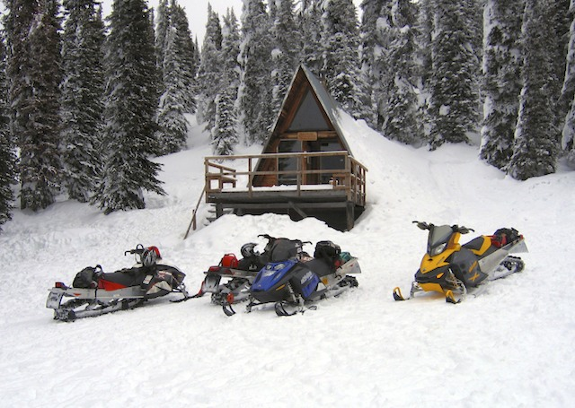 queest mountain cabin snowmobiling