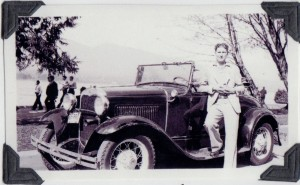 Jim Finucane with his first car a 1930 Ford Model A. Photo taken 1937